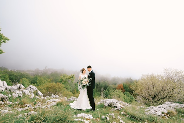 Groom hugs bride in a long dress with a veil and a bouquet of flowers on a background of stones and