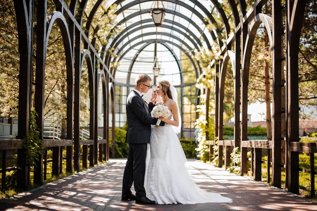 Groom hugs bride in a white dress on the scene of greenhouse