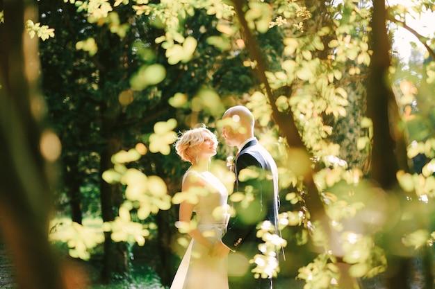Жених в черном костюме держит за руки невесту в белом платье в зеленом парке, вид через