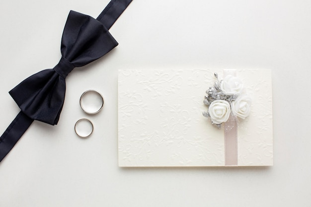 Groom and invitation in envelope wedding concept