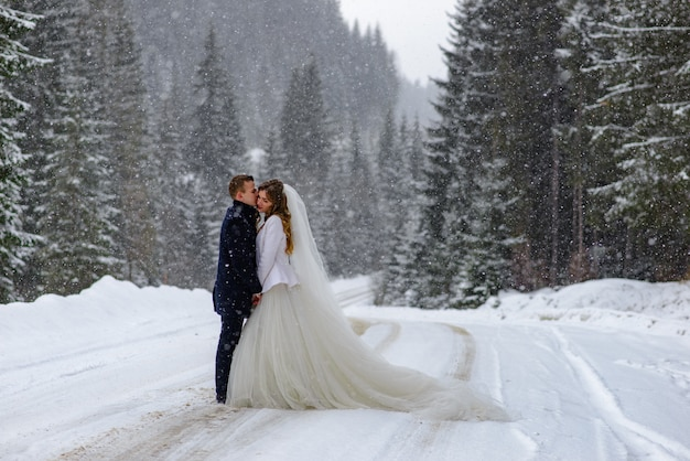 The groom kisses the bride against the backdrop of a snowy fir forest. snowing. winter wedding.