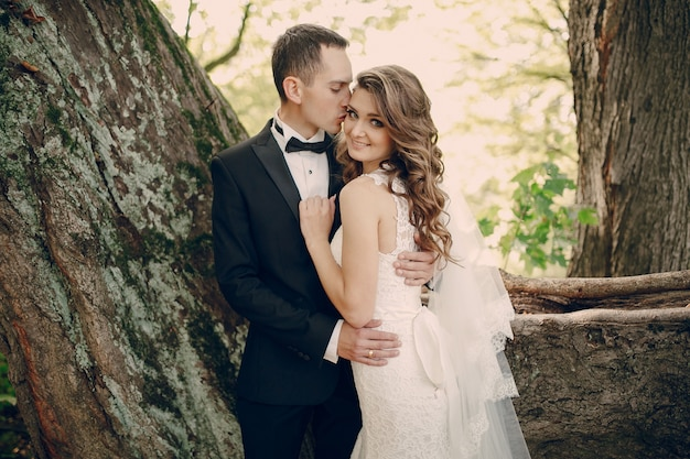 Groom kissing his wife's cheek outdoors