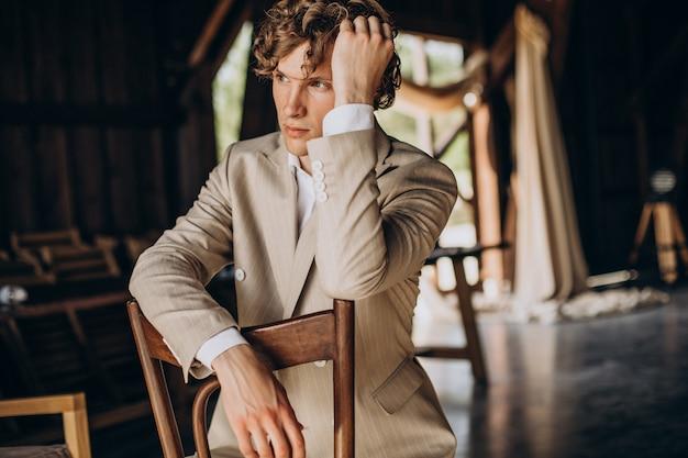 Groom preparing for his wedding