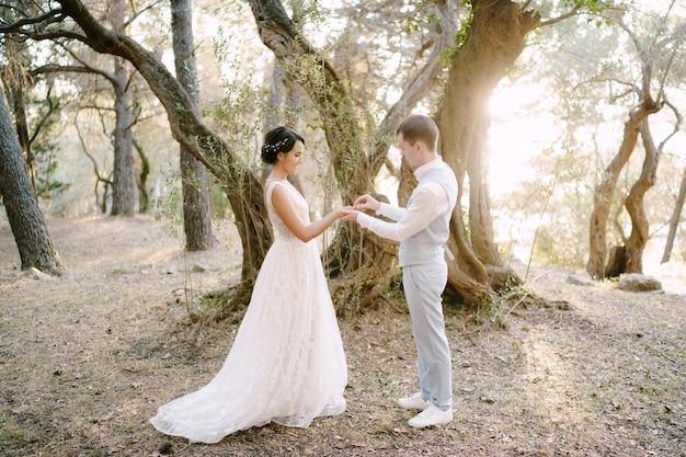 Жених надевает обручальное кольцо на палец невесты среди деревьев в оливковой роще