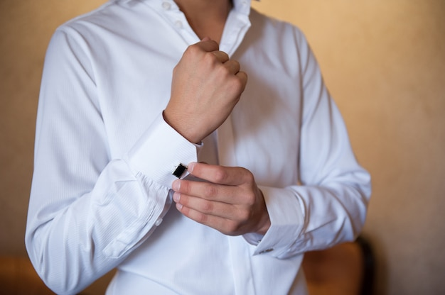 Groom on a white shirt with cufflinks
