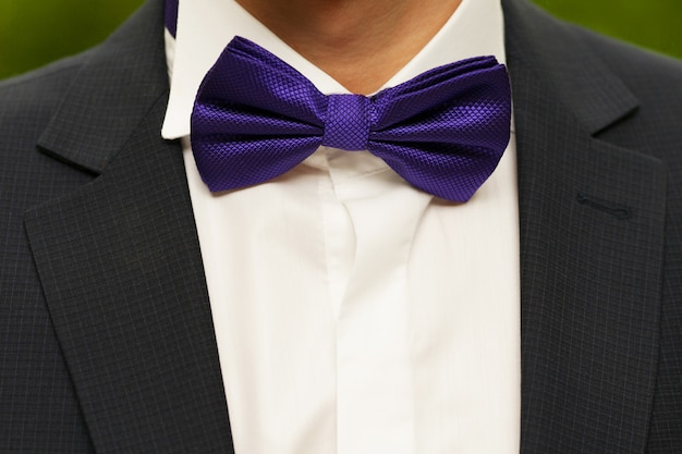 Groom with a purple butterfly