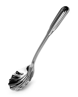 Grooved spoon for sugar or caviar isolated