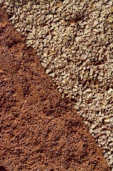 지상 및 인스턴트 커피 클로즈업