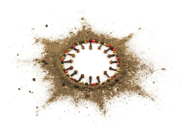 Ground black pepper isolated