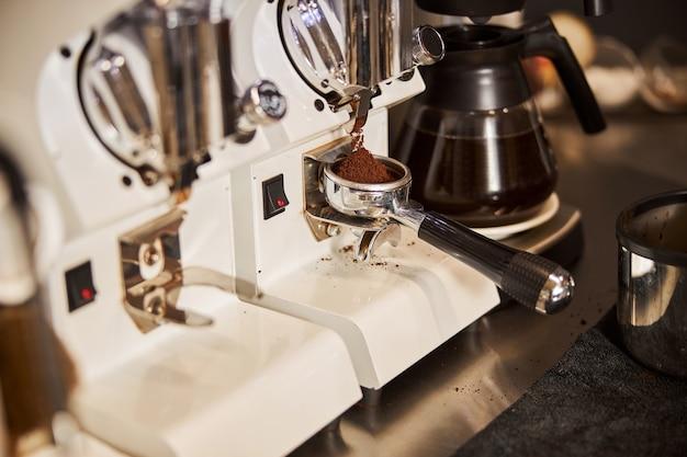 Ground coffee ready to be prepared in espresso machine