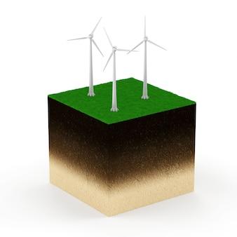 흰색 배경에 고립 된 현대 풍력 터빈 지상 단면