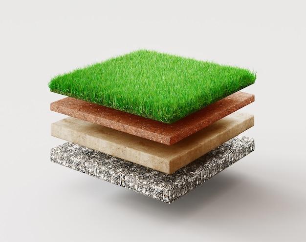 Грунт или слои почвы. перспектива пустое пространство квадрата зеленой травы изолированного на белой поверхности. 3d визуализация иллюстрации