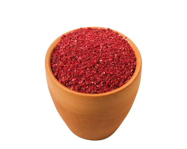 Ground red pepper in a bowl on a white background.