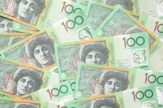 Group of 100 dollar australian notes for background