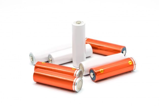 Group of aa size batteries isolated