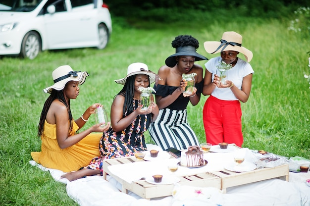 Group of african american girls celebrating birthday party outdoor