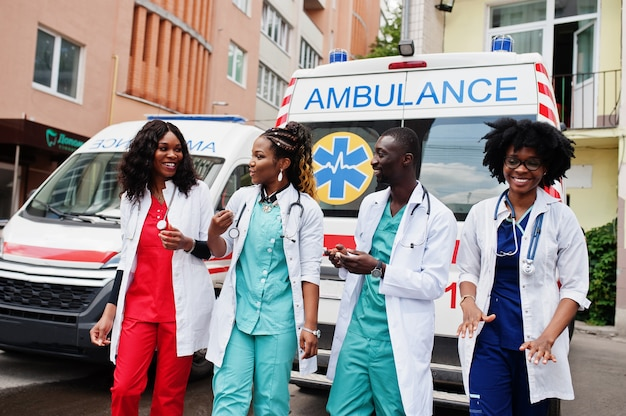 Group of african paramedic ambulance emergency crew doctors