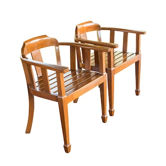 Group of the antique wooden chair isolated on white