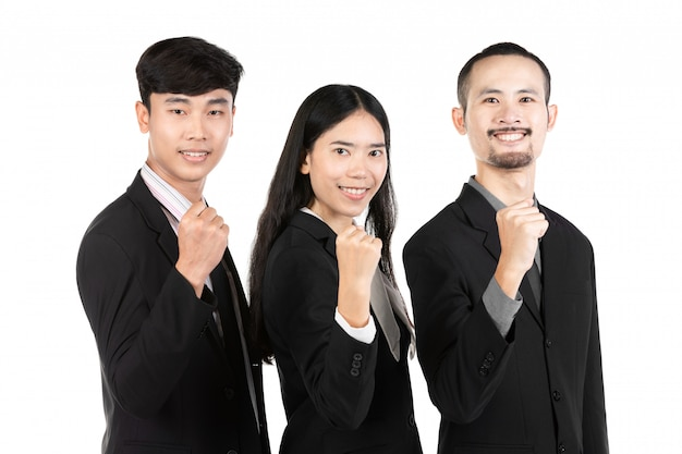 Group of asian business people isolated on white .