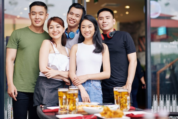 Group of asian young people in cafe