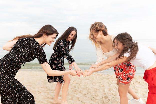 Group of beautiful girls having fun