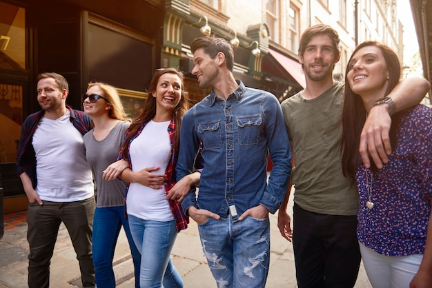 Group of best friends touring the city