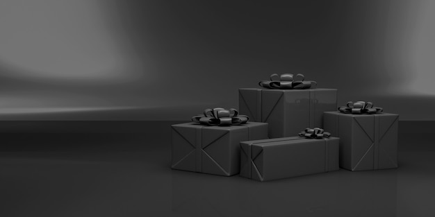 Group of black gift boxes on studio