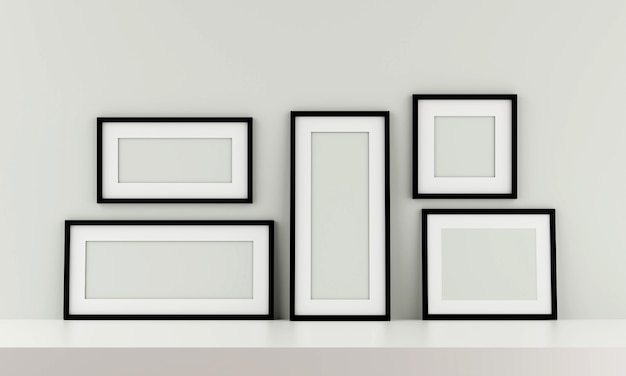 Group of black picture frame on the wall. 3d render.