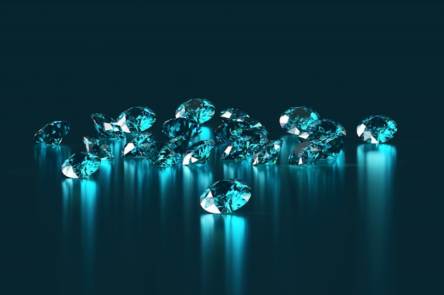 Group of blue round diamonds gem placed on reflection background 3d rendering.