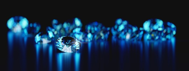Group of blue round diamonds gem placed on reflection