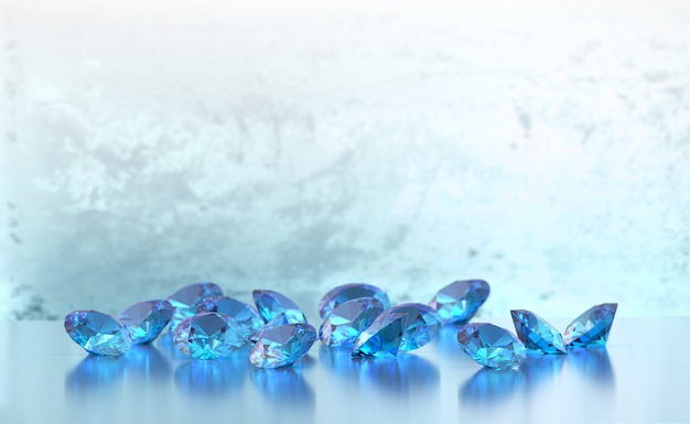 Group of blue round diamonds gems placed on glossy background soft focus, 3d illustration.
