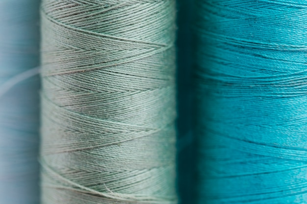 Group of blue thread reels