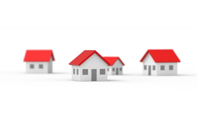 Group of blurred house isolated on white