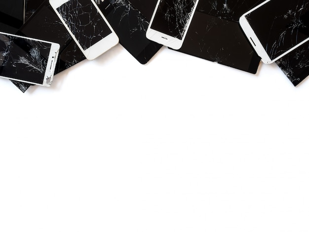 Group of broken smartphone screen (e-waste) isolate