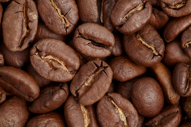 Group of brown coffee grains
