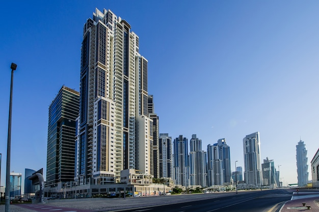 Group of buildings in dubai down town, part of business crossing project