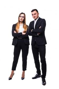 Gruppo di uomini d'affari uomo e donna in suite nero su bianco buon affare concetto