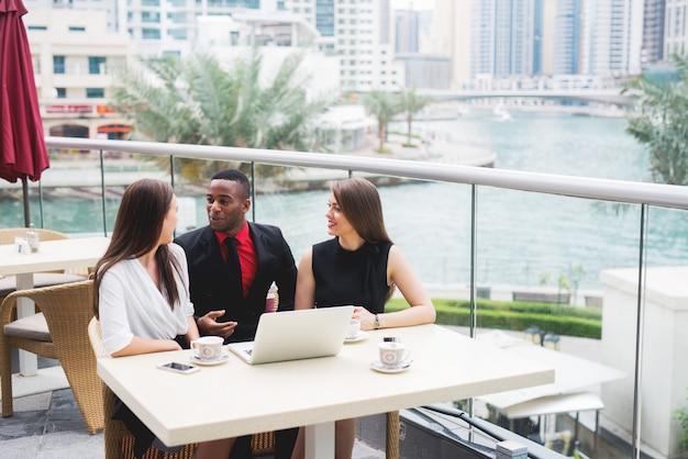 Group of business people team meeting talking job interview brainstorming planing.