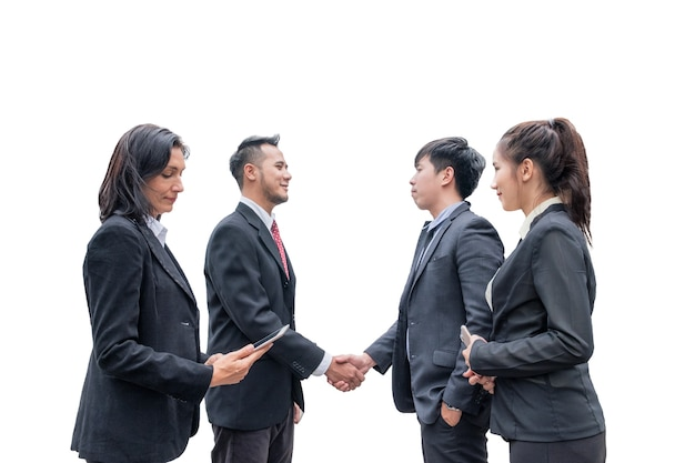 Group of business person with manager making handshake for agreement