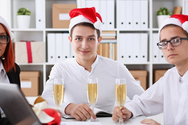 A group of businesspeople celebrating christmas