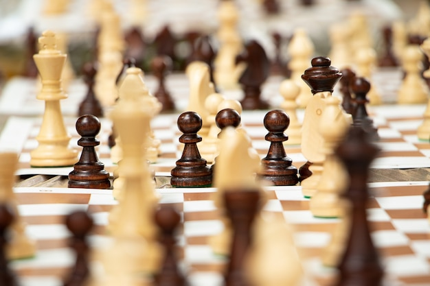 Group of chess pieces on the portable board playing in the park concept