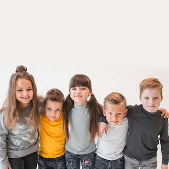 Group of children posing together