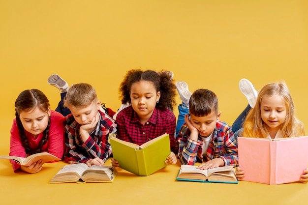 Group of childrens reading