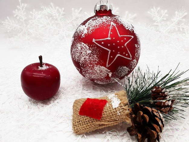 Group of christmas ornaments on a table
