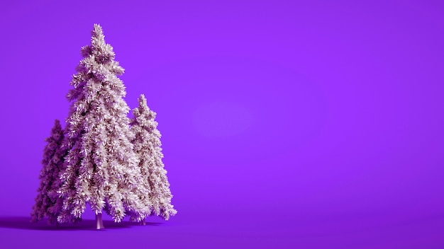 A group of christmas trees with copy space