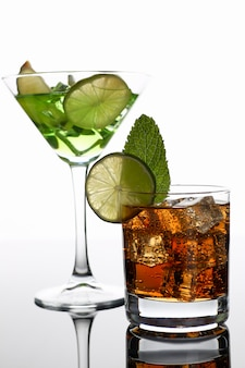 Group cocktail cola with whiskey mojito
