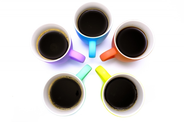 Group of colorful cooffee mugs