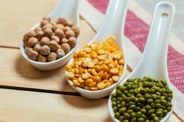 Group of colorful various beans