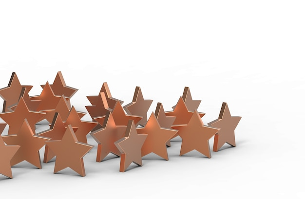 Group of copper stars isolated on white background. 3d rendering.