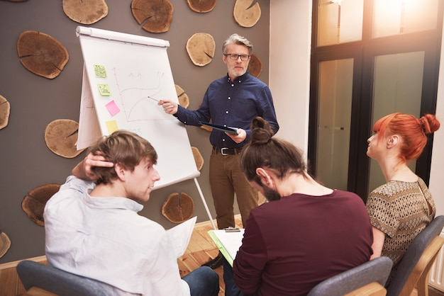 Group of creative people analyzing the result of work